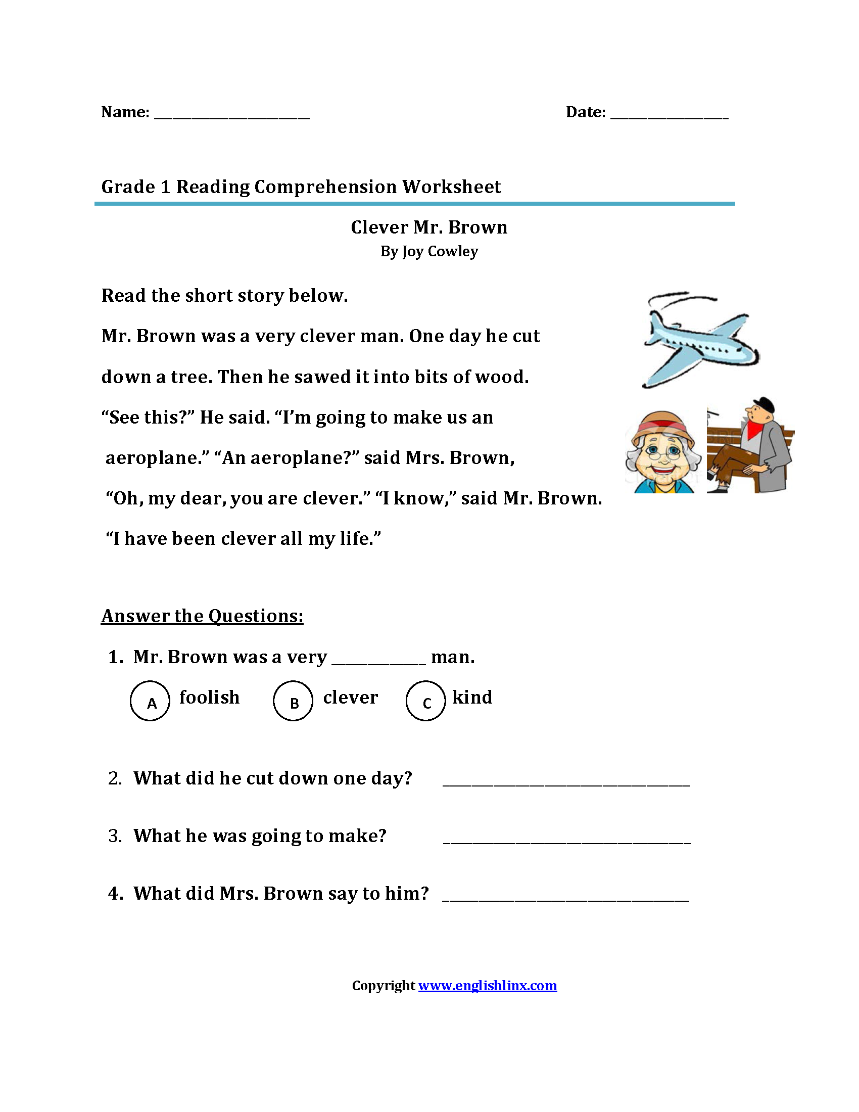 - 3rd Grade Reading Comprehension Worksheets Multiple Choice On