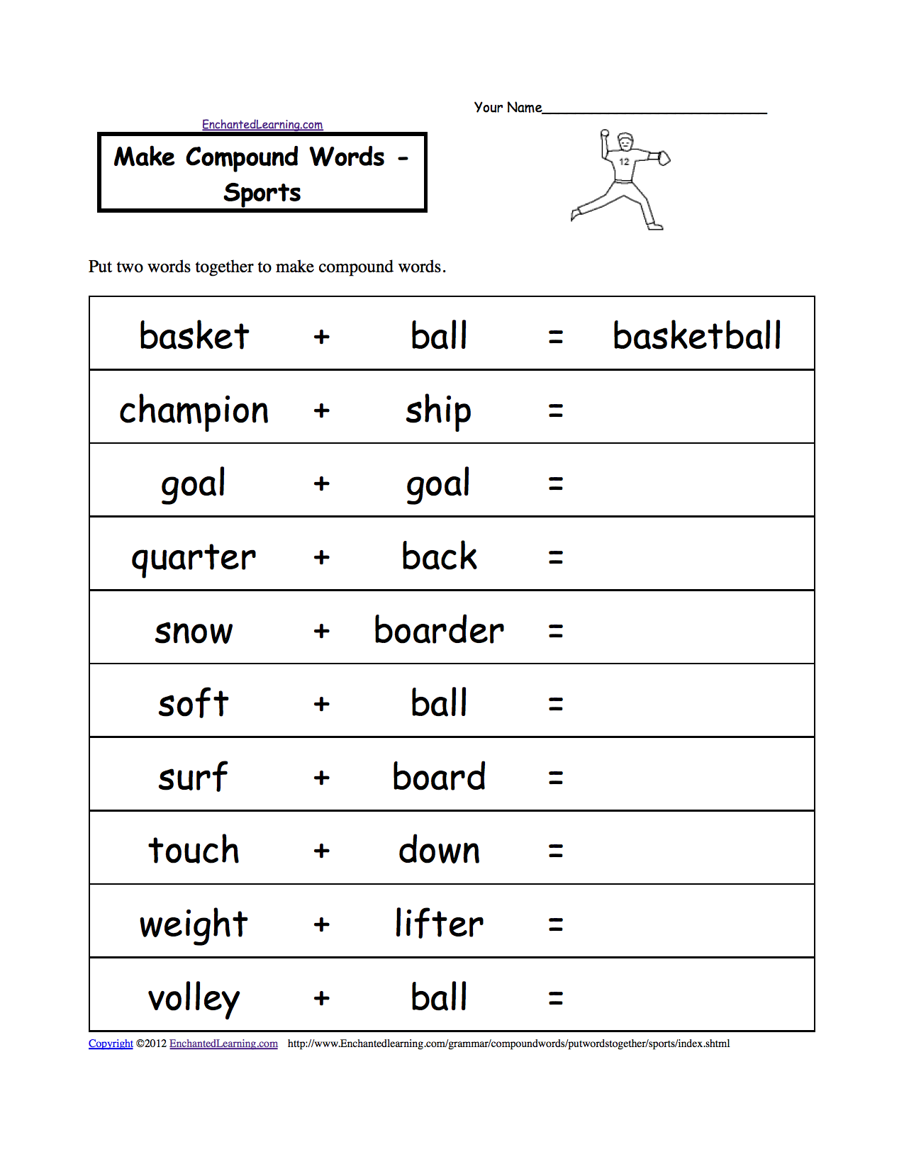 Sport Worksheets For Kids | Make Compound Words: Sports