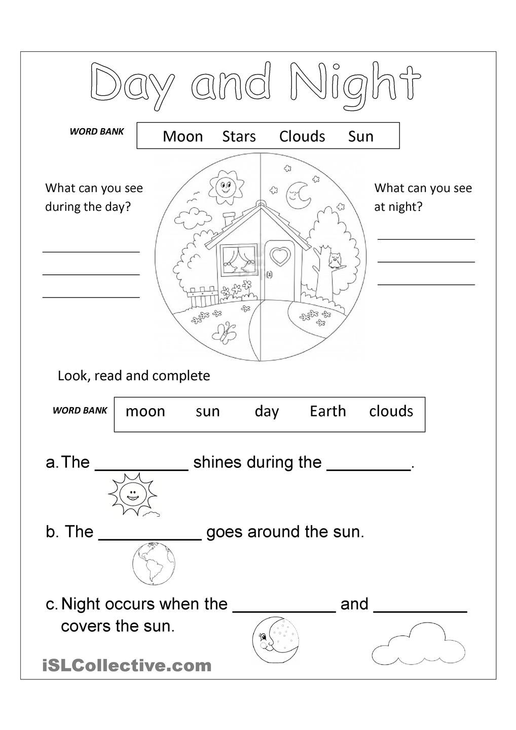 Day And Night Free Worksheet | Worksheets, Activities