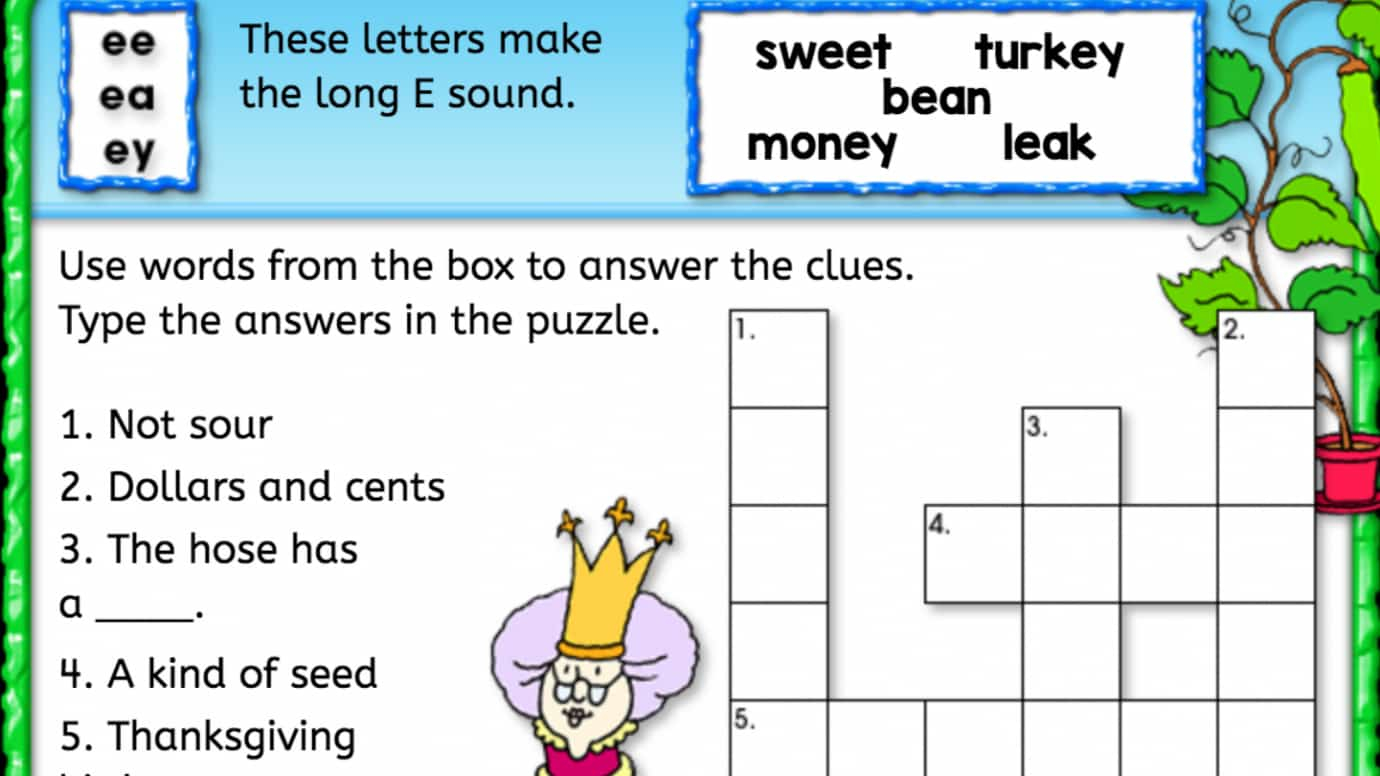 Long 'e' Sound Crossword Puzzle | Interactive Worksheets