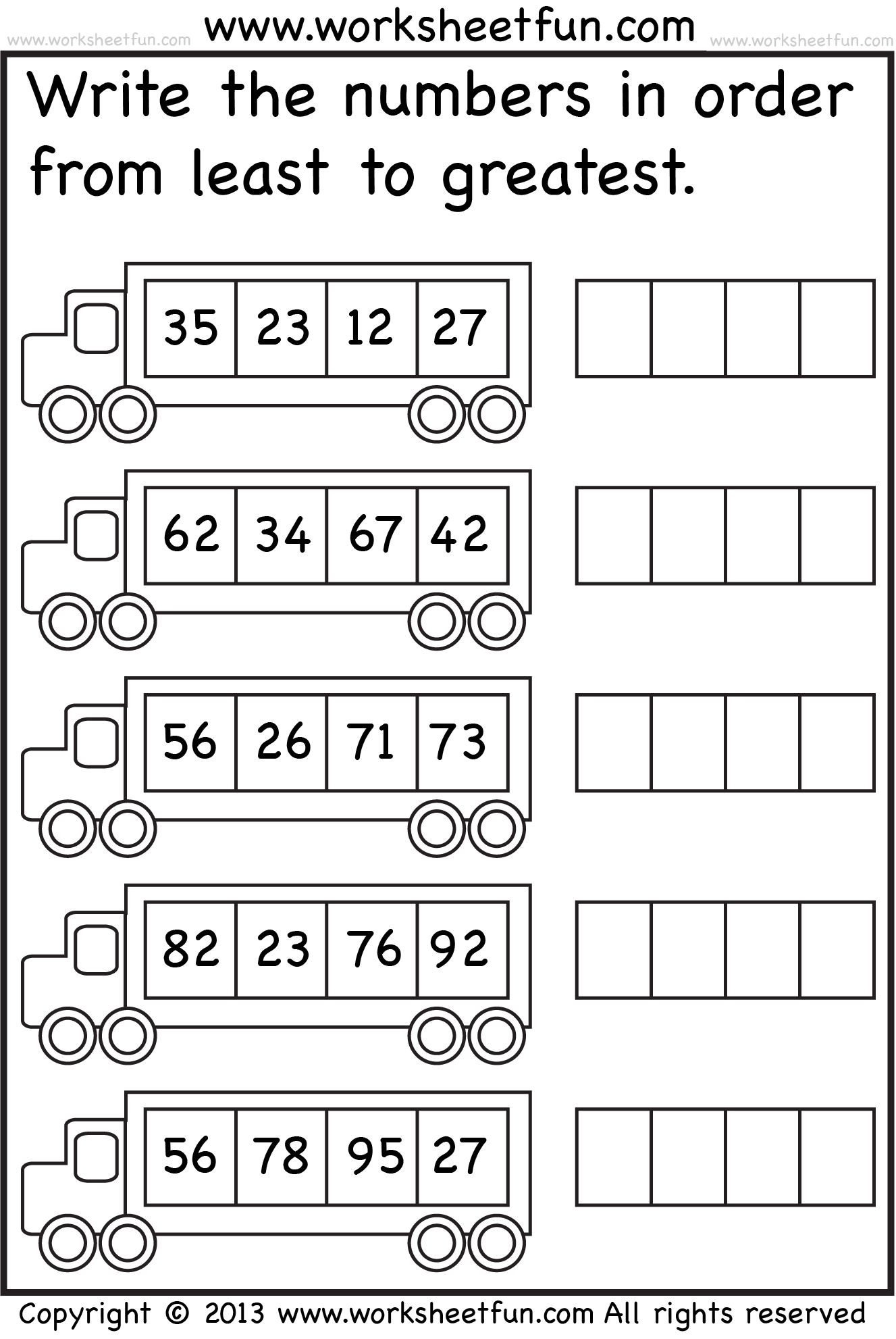 Least_to_greatest_bus_1 | Math | First Grade Worksheets, 1st