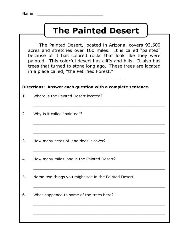 4th Grade Reading Comprehension Worksheets | Educational