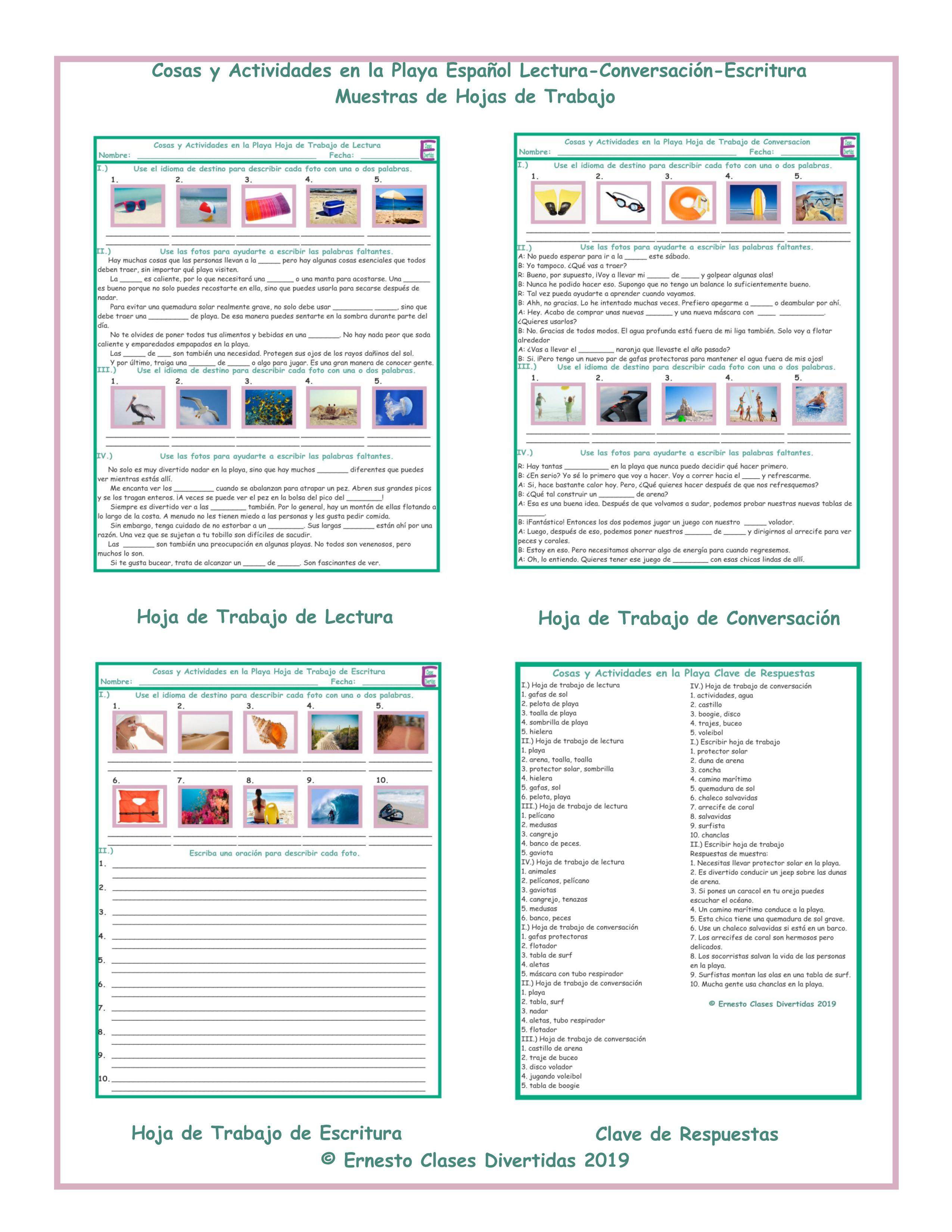 Beach Activities And Things Spanish Reading-conversation-writing Worksheets