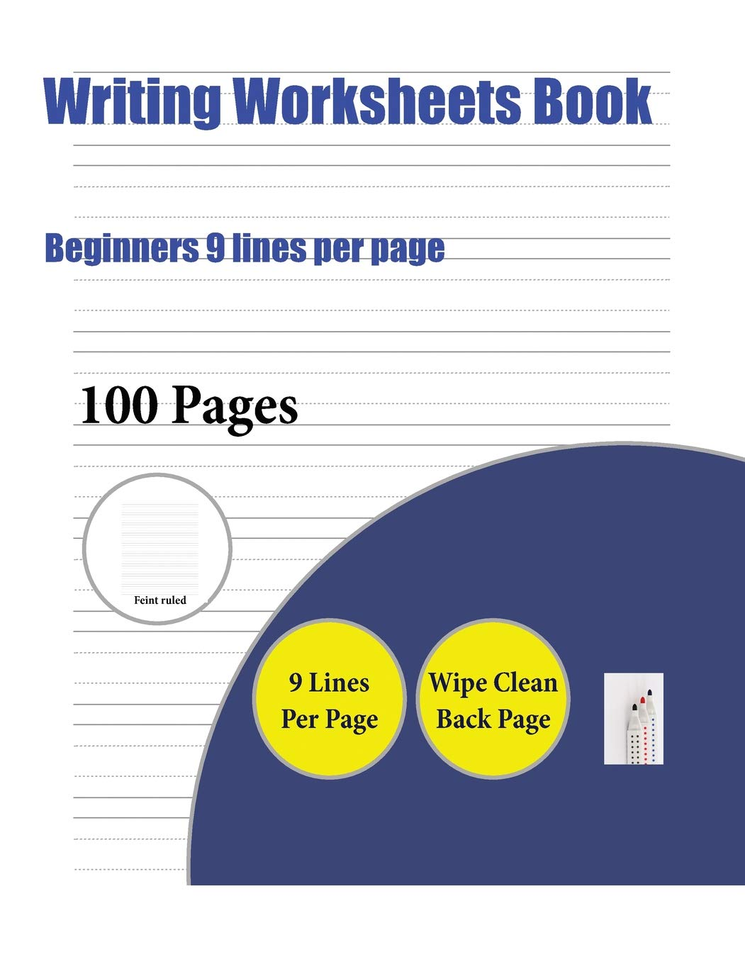 Writing Worksheets Book (beginners 9 Lines Per Page): A Handwriting