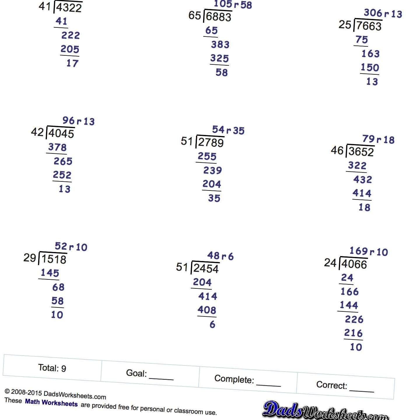 Free Printable Long Division Worksheets With Multiple-digit