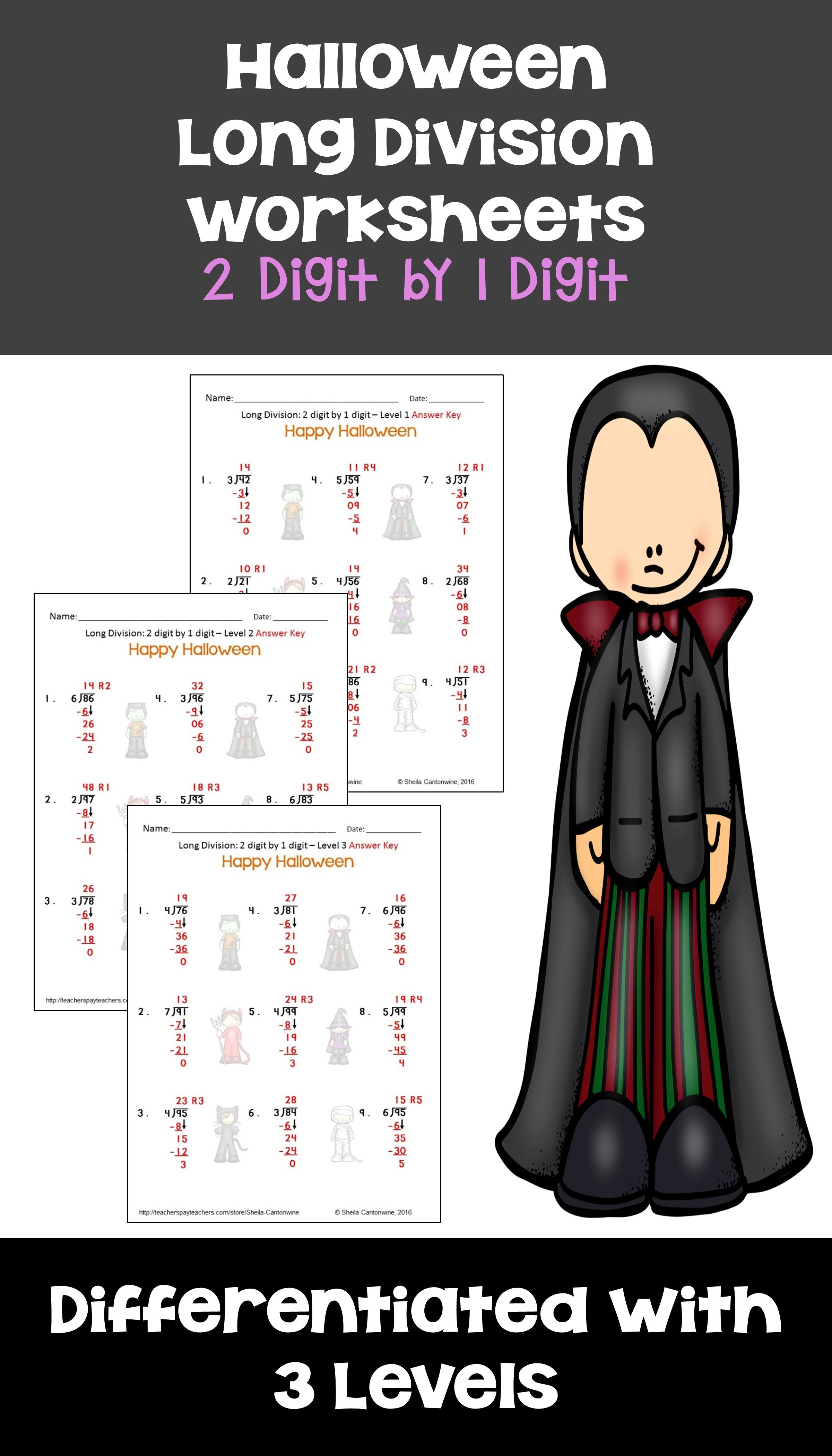 Halloween Math 2 Digit By 1 Digit Long Division Worksheets