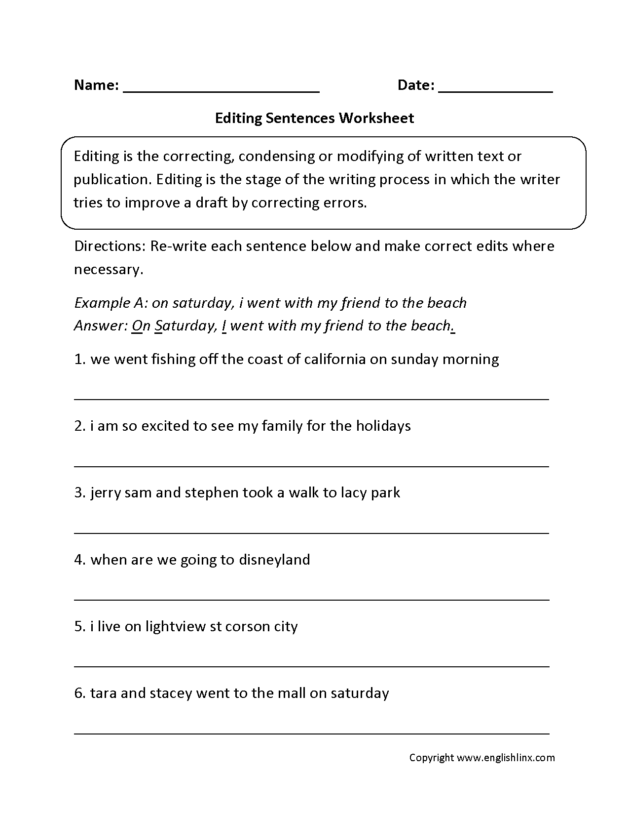 Printable Editing Worksheets For Fourth Grade 5th Grade