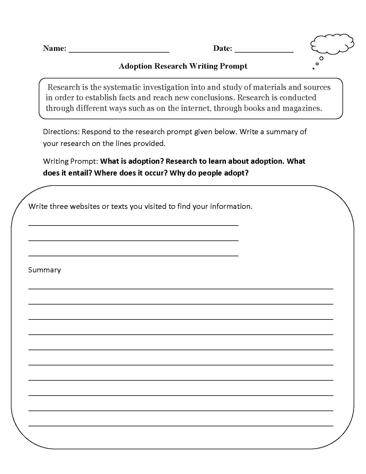 Research Writing Prompts Worksheets | Short Story Prompts 1