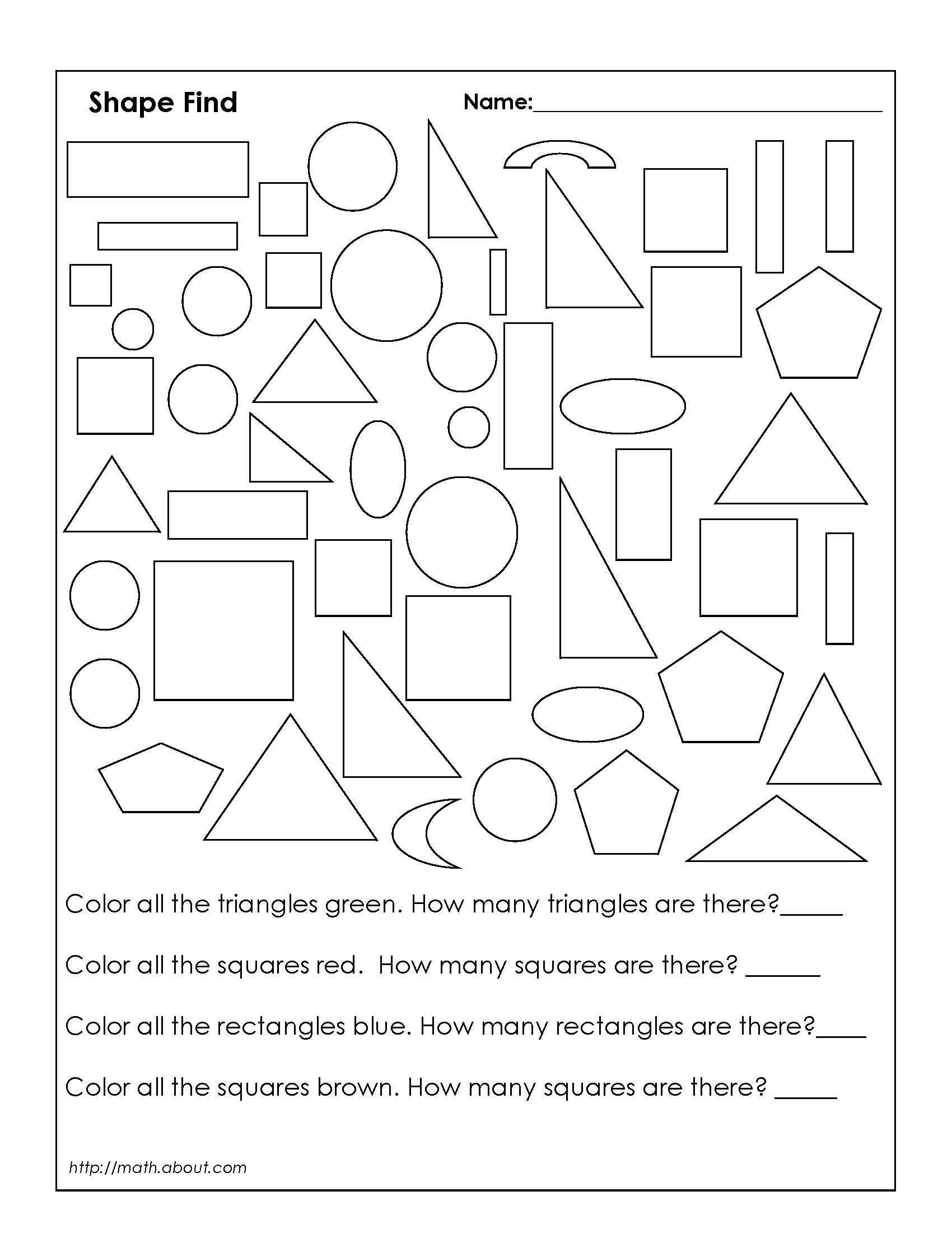 1st Grade Geometry Worksheets For Students | Geometry