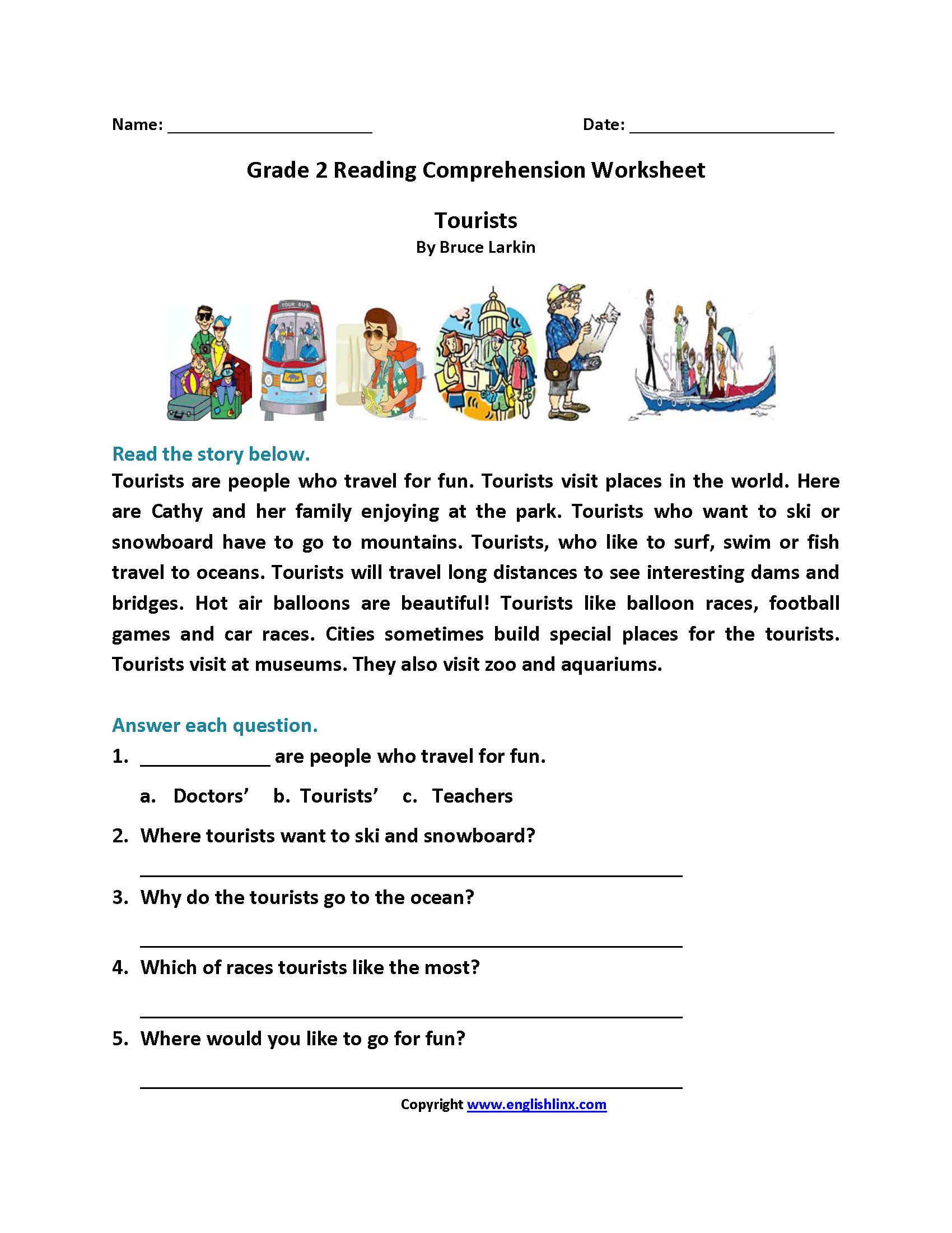 Tourists Second Grade Reading Worksheets | Reading
