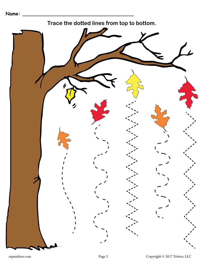Free Printable Fall Line Tracing Worksheets | Fall Preschool