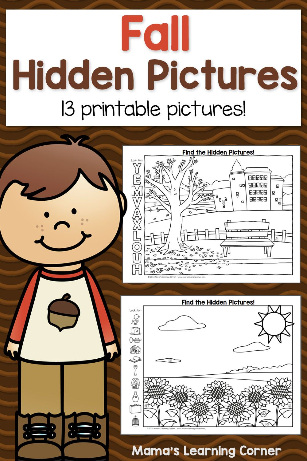 Fall Hidden Picture Worksheets | Hidden Pictures, Fall