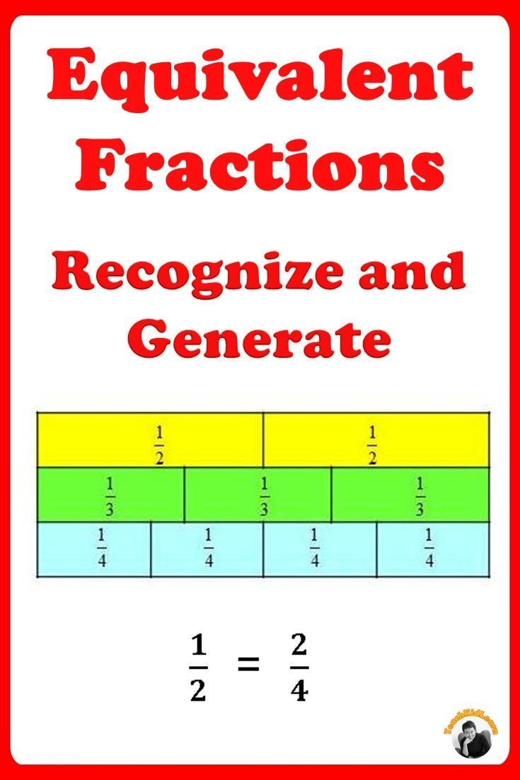 Equivalent Fractions Worksheets 3rd, 4th Grade | Fractions