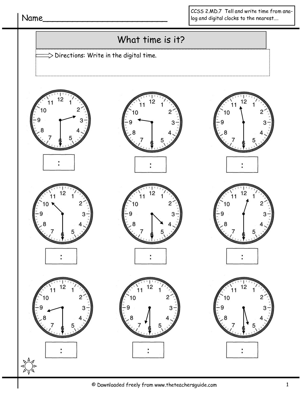 Clock Worksheets | Telling Time To Nearest Half Hour