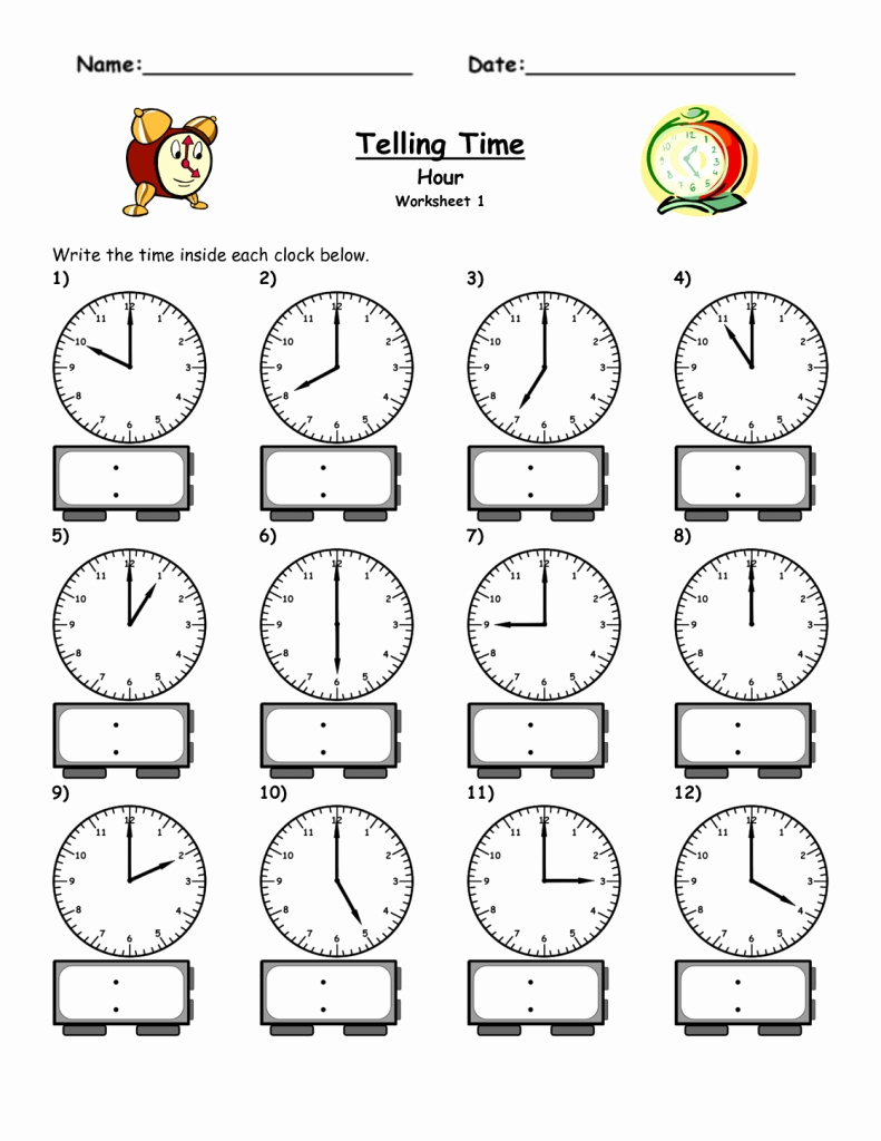 Time Worksheets For Kindergarten For Download - Math