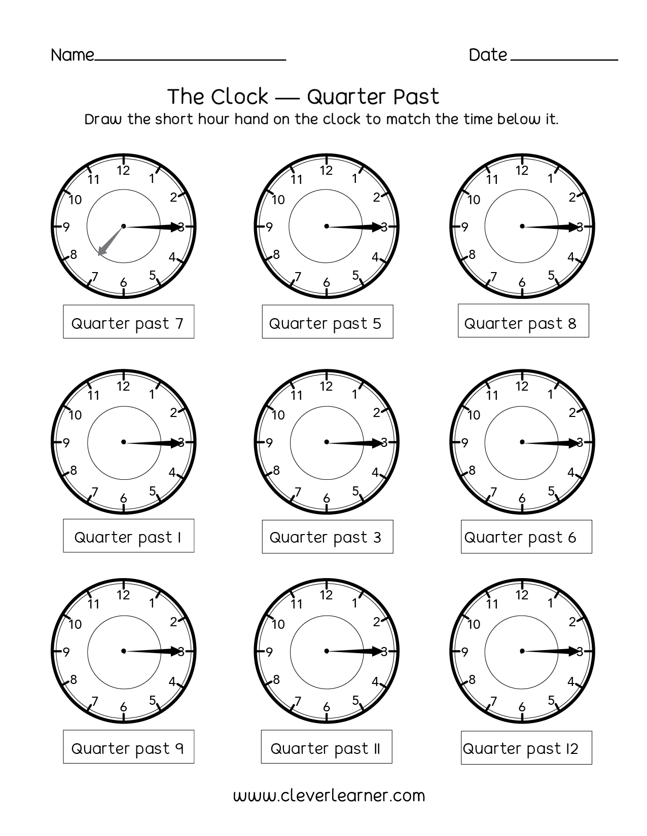 Telling Time, Quarter Past The Hour Worksheets For 2nd Graders