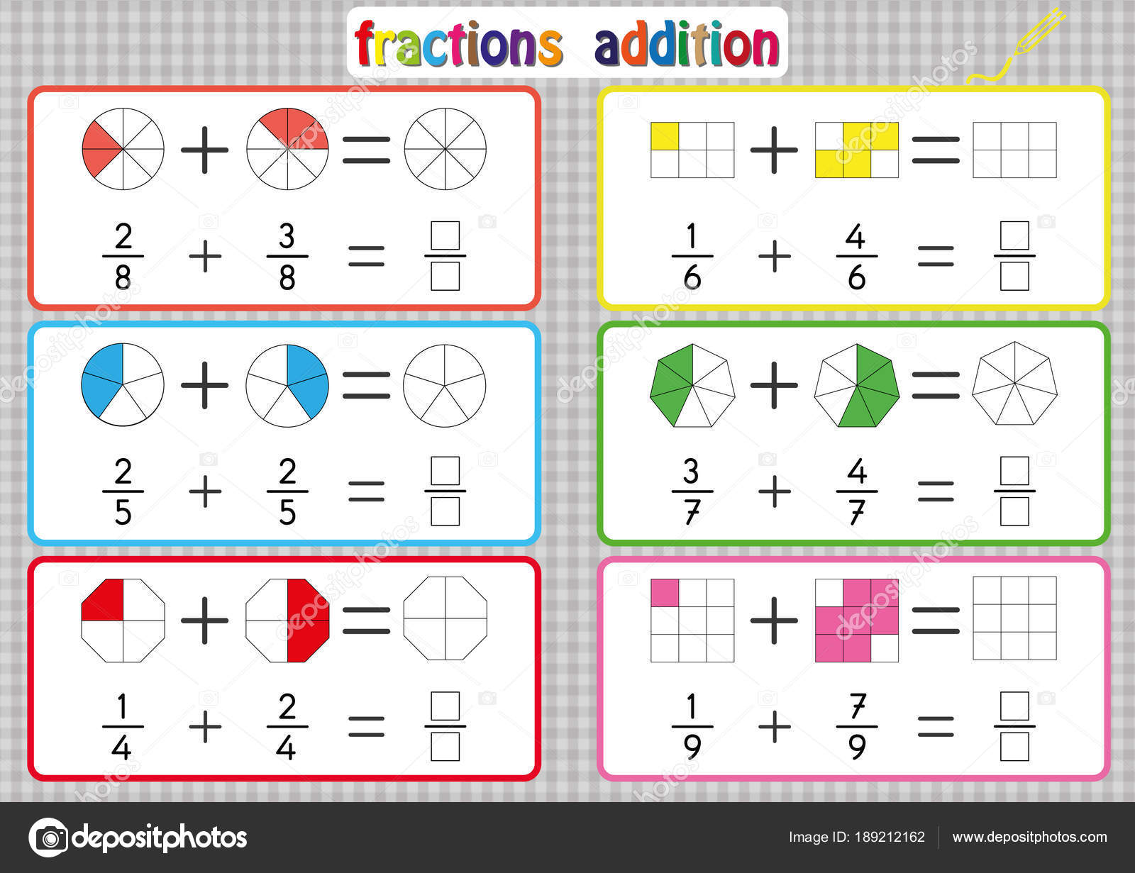Fractions Addition, Printable Fractions Worksheets For
