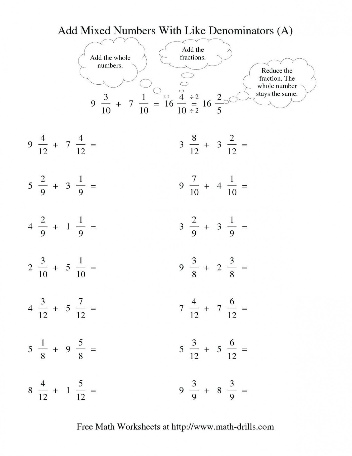 3 Worksheet Free Math Worksheets Third Grade 3 Fractions And